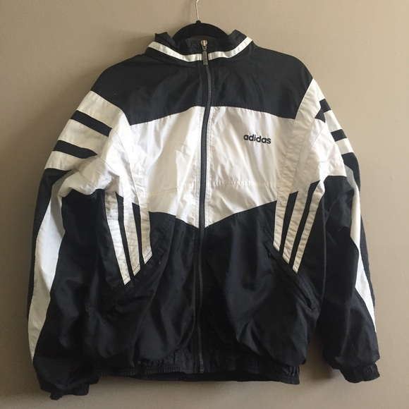 5325701ad adidas Jackets & Blazers - Vintage Classic Adidas Black and White  Windbreaker